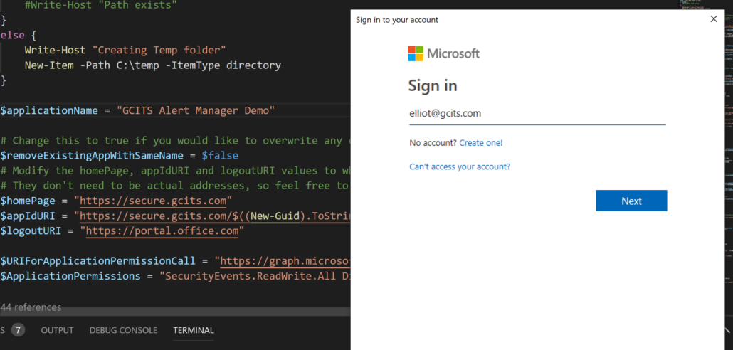 Create Azure AD Application To Access Microsoft Graph Security Alerts