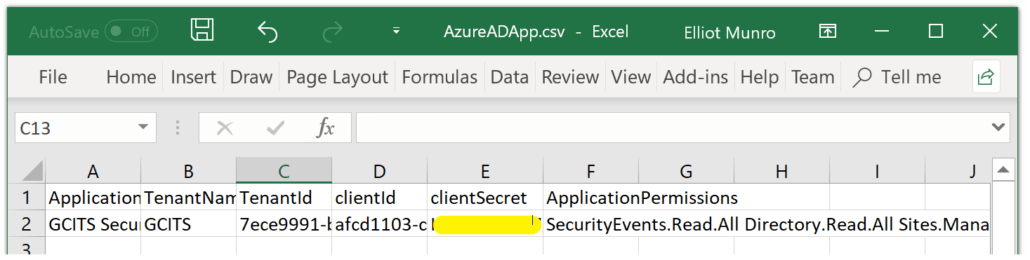 Exported Info for Azure Ad App